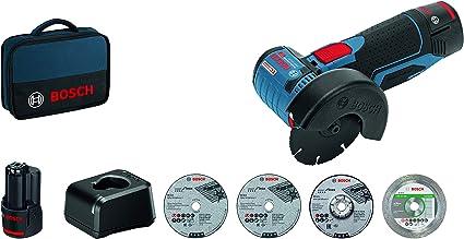 Bosch Professional 06019F200C GWS 12V-76-Amoladora Angular, 19500 RPM, Ø Disco 76 mm, 5 Accesorios, 2 baterías x 2,0 Ah, en Bolsa, 12 V, Azul, Size
