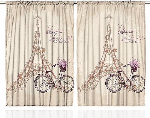 Ambesonne Paris Curtains, Eiffel Tower Floral Style Romantic Vintage Bike with Flowers Bonjour Paris Words Print, Living Room Bedroom Window Drapes 2 Panel Set, 108 X 84 , Beige
