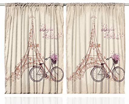 Ambesonne Paris Curtains 2 Panel Set Eiffel Tower Floral Style Romantic Vintage Bike With Flowers
