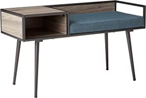 Walker Edison Furniture Company Mid Century Modern Upholstered Entry Storage Bench Entryway Living Room, 40 Inch, Blue