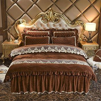 Amazon.com: Lh$yu Juego de cama falda de cristal terciopelo ...