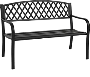 Best Choice Products 50in Steel Garden Bench for Outdoor, Park, Yard, Patio Furniture Chair w/Cross Design Backrest, Slatted Seat