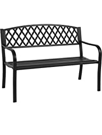 best choice products 50 patio garden bench park yard outdoor furniture steel frame porch chair. beautiful ideas. Home Design Ideas