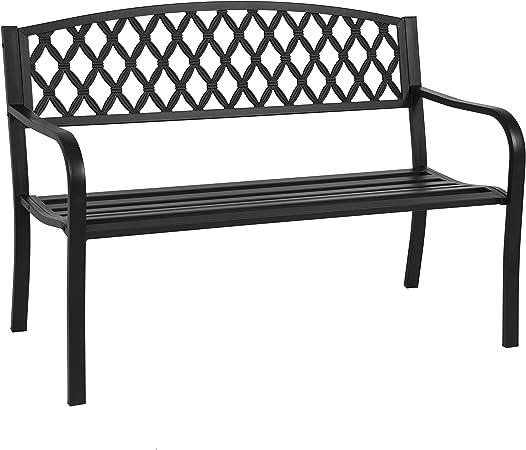 Garden Bench Loveseat Steel 3 Pcs Bistro Set Outdoor Patio Park Romantic Seats