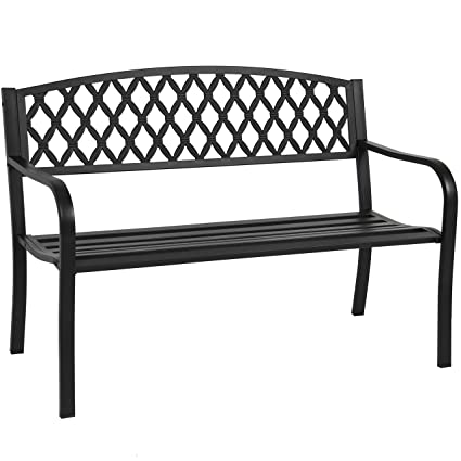 Astounding Best Choice Products 50 Patio Garden Bench Park Yard Outdoor Furniture Steel Frame Porch Chair Seat Bralicious Painted Fabric Chair Ideas Braliciousco