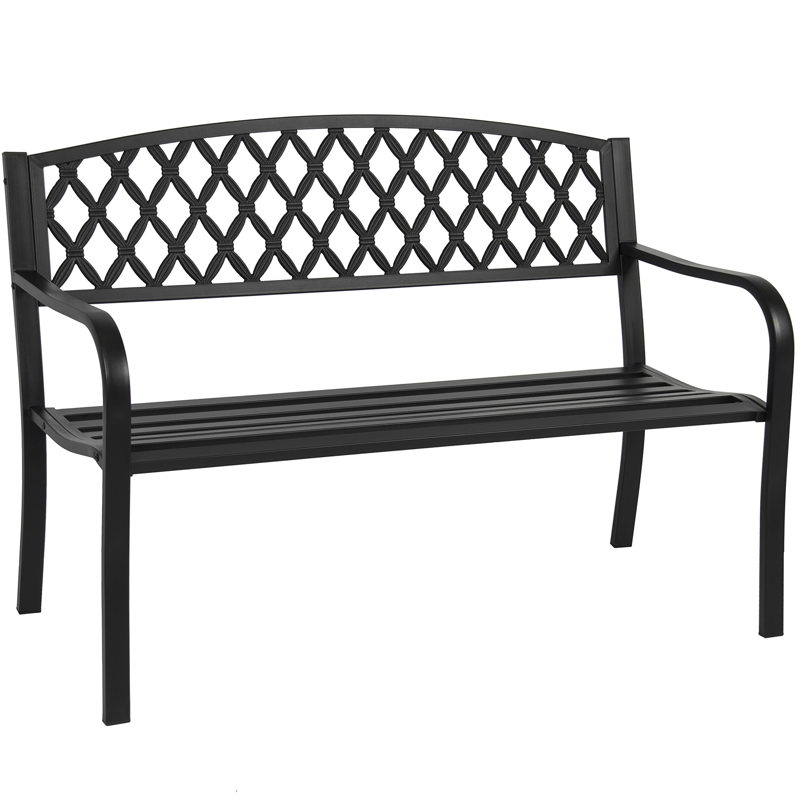 Best Choice Products 50in Steel Outdoor Patio Garden Park Bench Porch Chair Yard Furniture w/Cross Design - Black by Best Choice Products