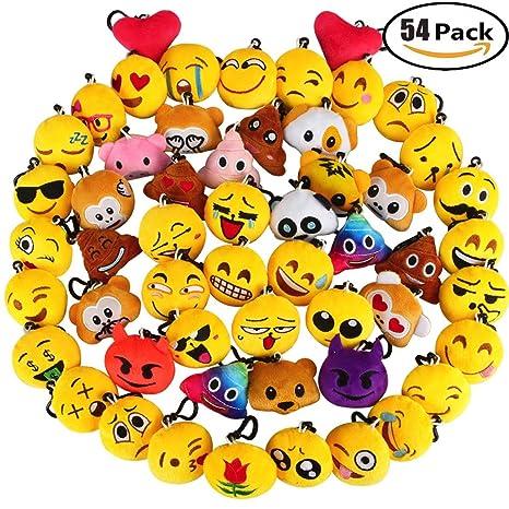 Aitey Emoji Keychain Mini Plush Pillows Cute Key Chains Emojis Birthday Party Supplies