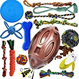 Dog Chew Toys for Puppies Teething, 14 Pack Puppy Chew Toys Dog Toy Bundle Chew Ball Dog Squeaky Toys iq Treat Ball Rubber Bo