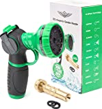 Water Metal Garden Hose Nozzle Anti Leak Heavy Duty 10 Pattern Anti Rust No Squeeze Sprayer High Pressure Attachment Car Wash Pet Shower Water Plants Include Brass Nozzle +1 Year Manufacturer Warranty