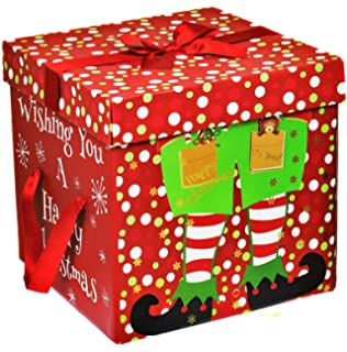 large premium christmas eve gift box lid ribbon handles xmas present wrapping green - Large Christmas Gift Boxes