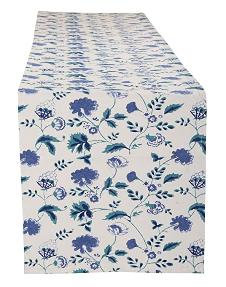 Gorgeous Hand Block Printed Cotton Table Runner White Floral by Rajrang Table Runners at amazon