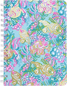 Lilly Pulitzer Women's Blue/Gold Hardcover Mini Spiral Notebook, 8.25