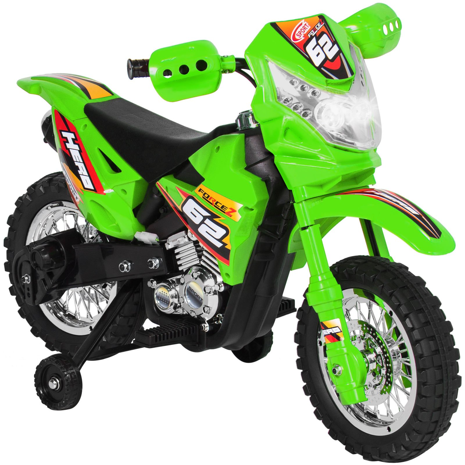 Marketworldcup- 6V Electric Kids Ride On Motorcycle Dirt Bike W/Training Wheels- Green