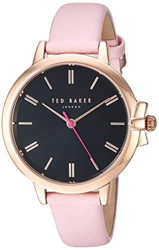 1e180f336378 Image Unavailable. Image not available for. Colour  Ted Baker Women s 3  Hands Slim Ruth Case Black Dial Genuine Pink Leather Strap Watch (