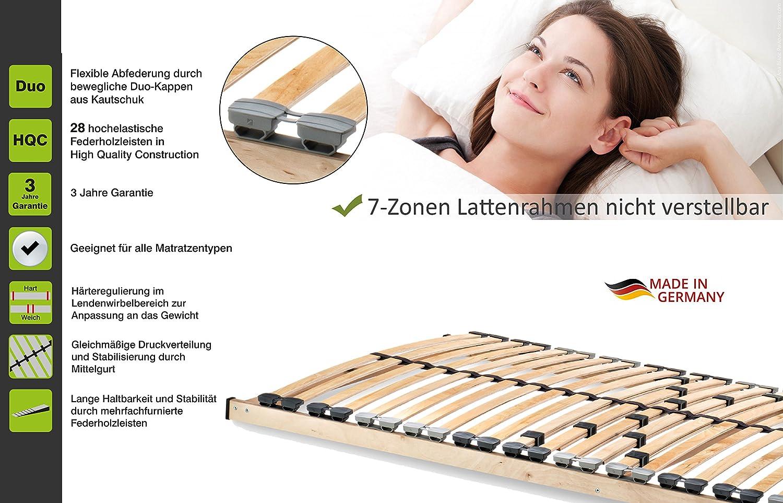 Komfort Lattenrost mit 28 hochelastische Federholzleisten Geeignet f/ür alle Matratzen Home Collection24 GmbH HomeBett 7-Zonen Lattenrost 80x200 cm NV