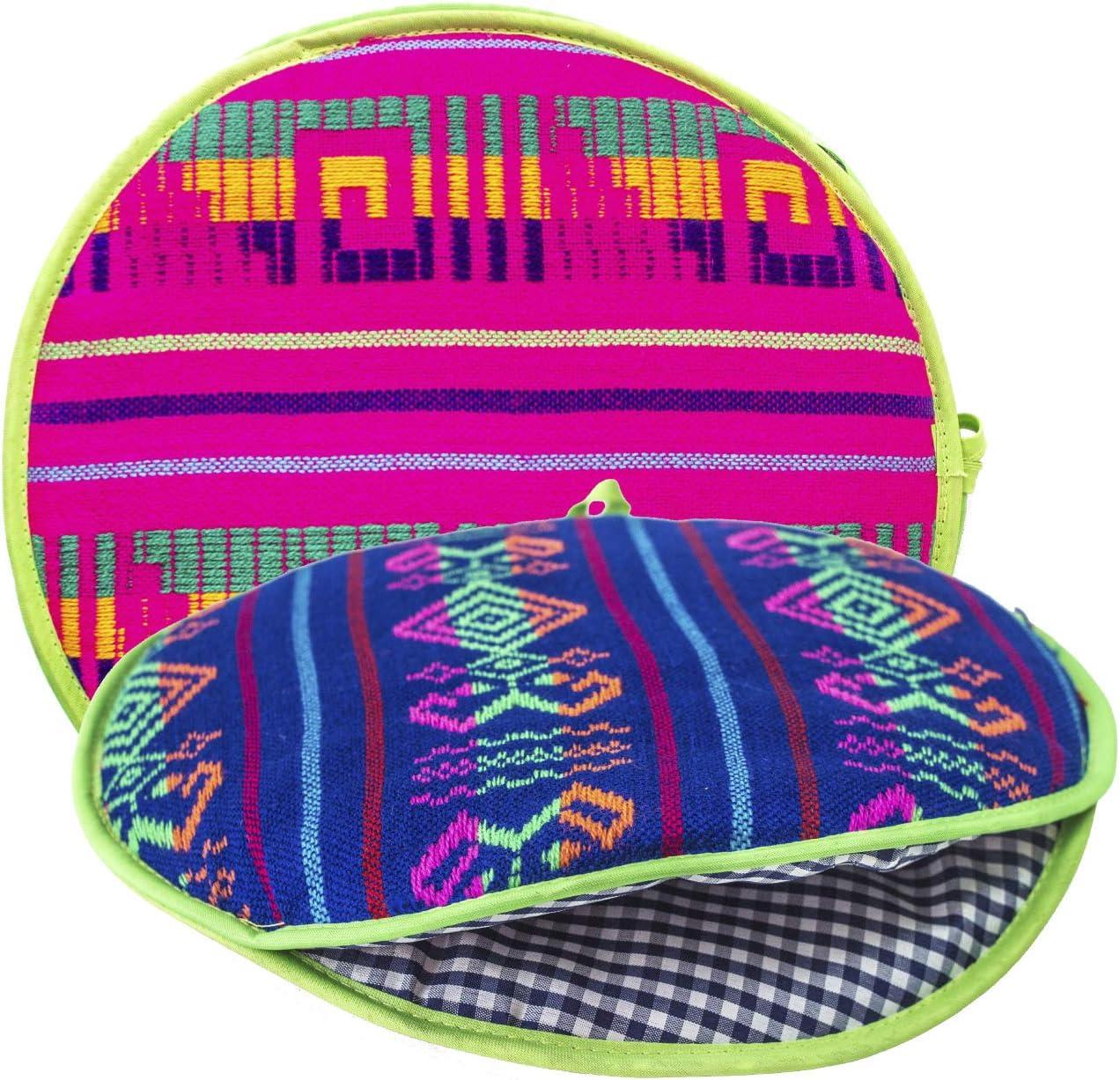 Authentic Mexican Cloth Tortilla Holder Warmer Pouch. Insulated Tortillera Mexicana Microwave Oven Safe for Corn, Flour Taco, Burrito, Quesadilla,Bread, Roti. Tortillero Termico de Tela Fucsia
