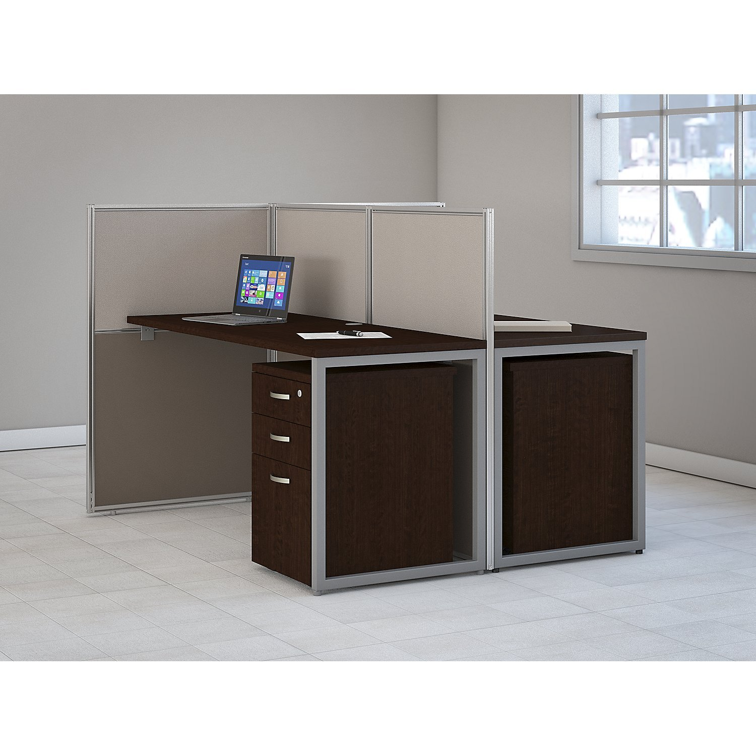 Easy Office 60W 2 Person Straight Desk Open Office with Two 3 Drawer Mobile Pedestals in Mocha Cherry