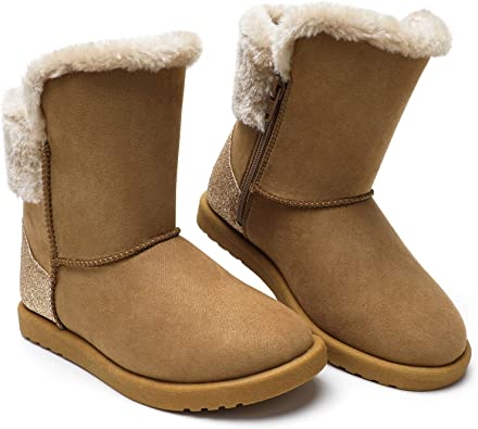 Girls Toddles Snow Boots Sheepskin Winter Faux Fur Lined Ankle Boots Dog Walking