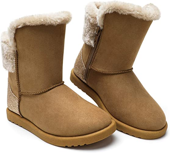 tombik Toddler Boys Girls Insulated Waterproof Winter Faux Fur Snow Boots