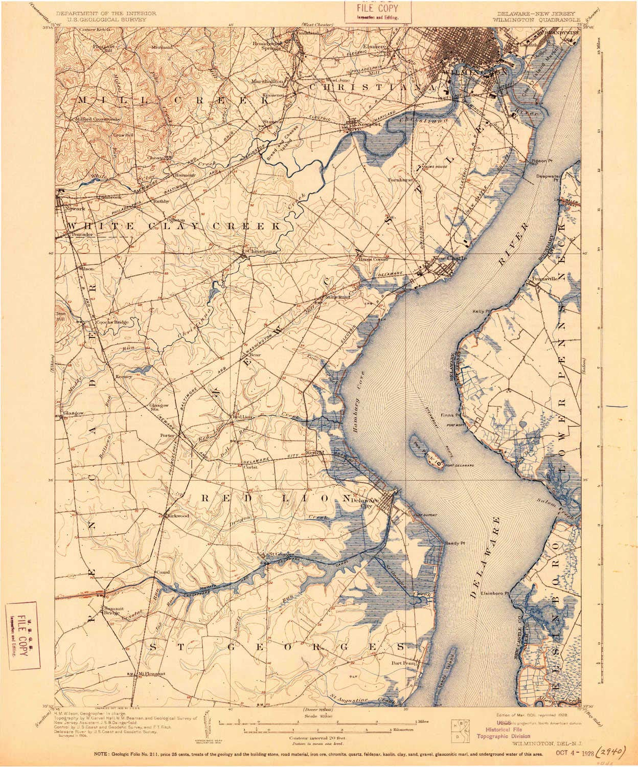 YellowMaps Wilmington DE topo map, 1:62500 Scale, 15 X 15 Minute, Historical, 1906, Updated 1928, 19.7 x 16.4 in - Polypropylene by YellowMaps