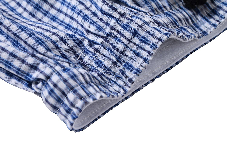 JINSHI Pantaloncini da Uomo in Cotone per Pigiama a Quadretti