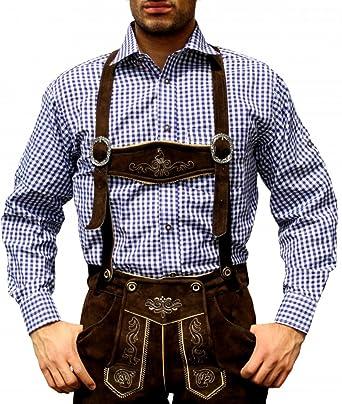 Trachtenhemd de pantalones de cuero traje Oktoberfest Trachtenmode Azul / karo (4XL)