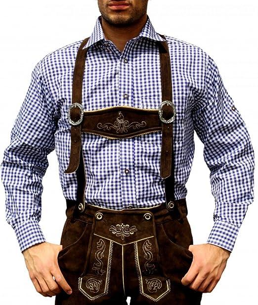 Trachtenhemd de pantalones de cuero traje Oktoberfest Trachtenmode Azul / karo (3XL)