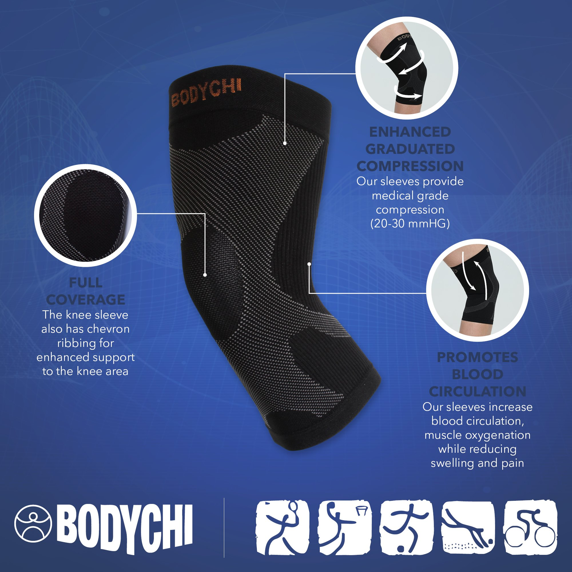 BODYCHI Men and Women Seamless 20-30 mmHg Compression Knee Support Sleeve for Joint Protection and Support for Running, Sports, Knee Pain Relief, Knee Sleeve, Comes in a Pair, Large by BODYCHI (Image #3)