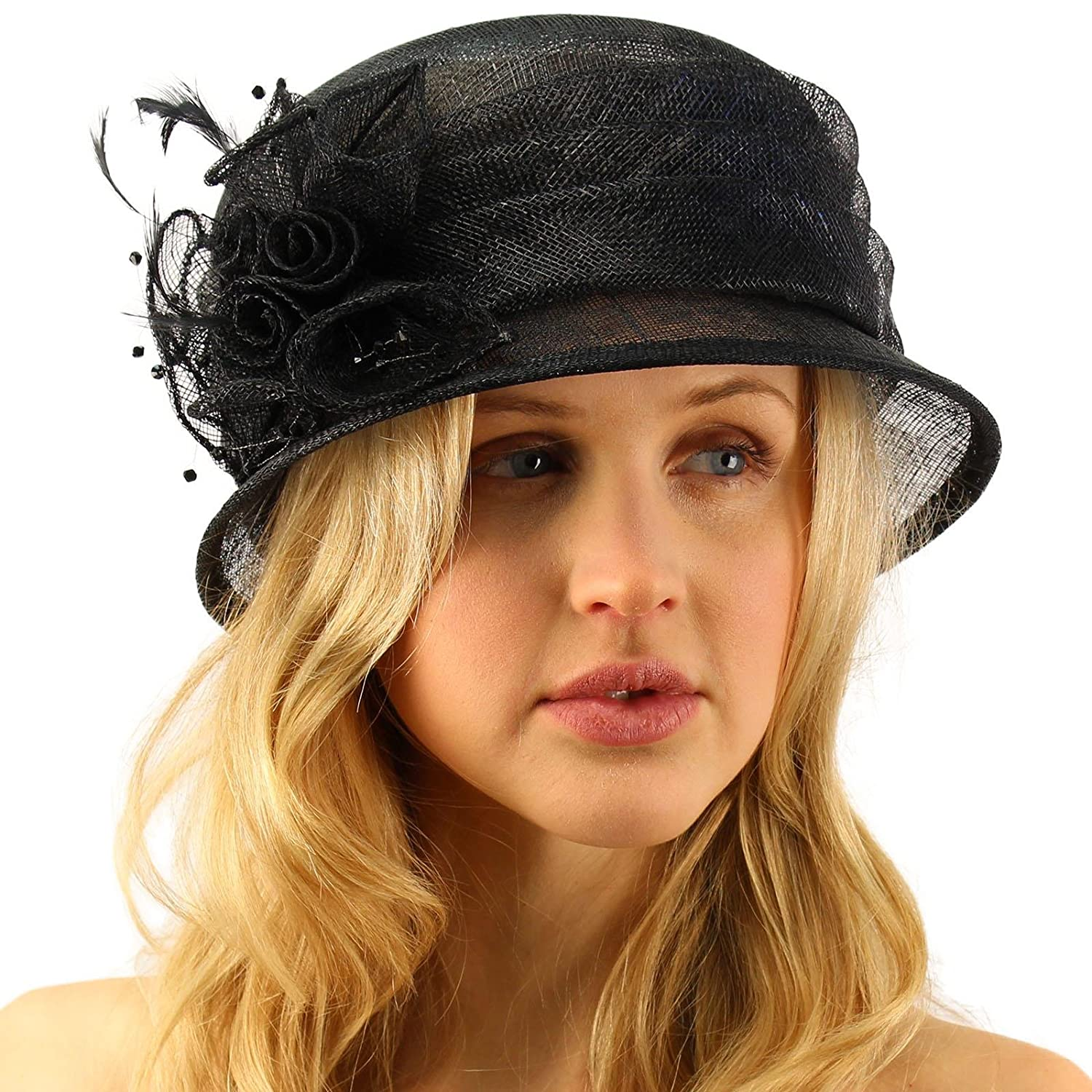 b78e9d2badc40 Summer Fancy 1920s Flapper Sinamay Trio Floral Cloche Bucket Church Hat  Black at Amazon Women s Clothing store