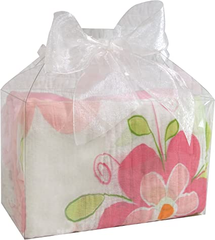 Solid Pink//Swirly Flower, Stephan Baby Cotton Muslin Swaddle Blankets Gift Set