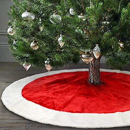 ivenf 48 plush mercerized velvet large christmas tree skirt christmas party decoration