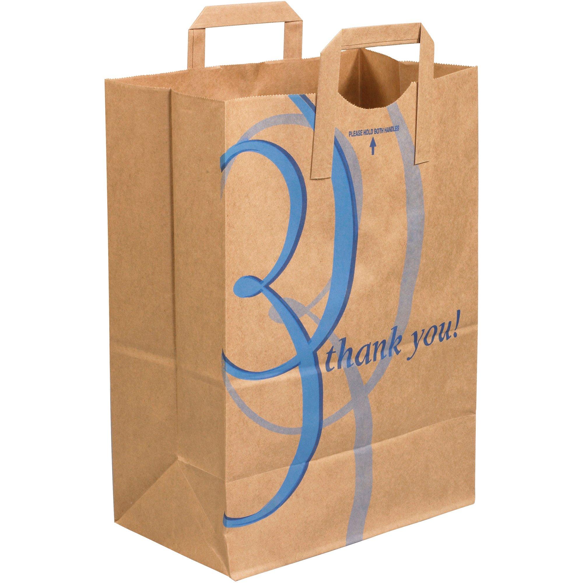 Flat Handle Grocery Bags, 12'' x 7'' x 17'', Kraft, 300/Case