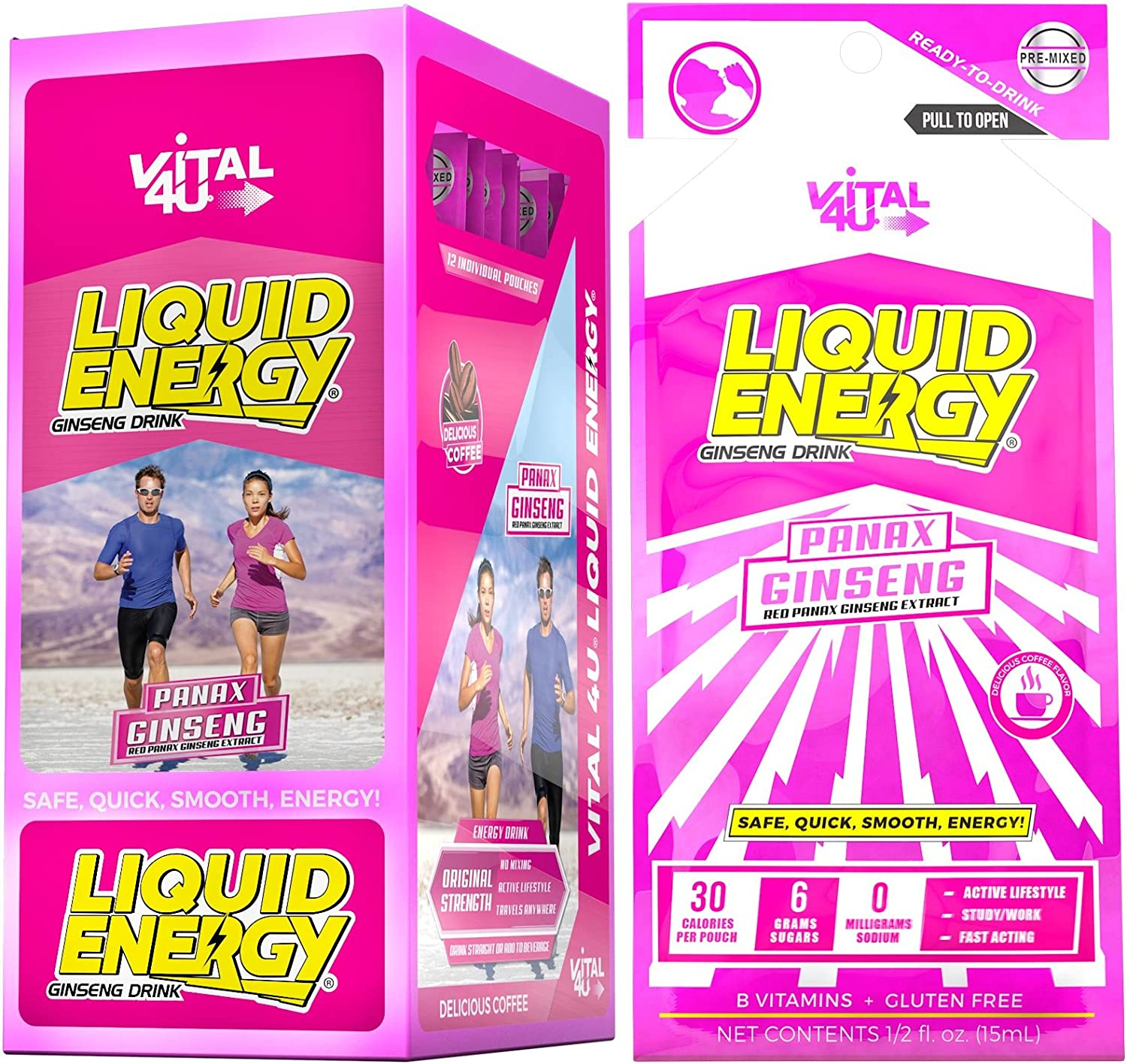Vital 4U Liquid Energy – Ginseng Energy Shot, Delicious Coffee Flavor, 24 Count