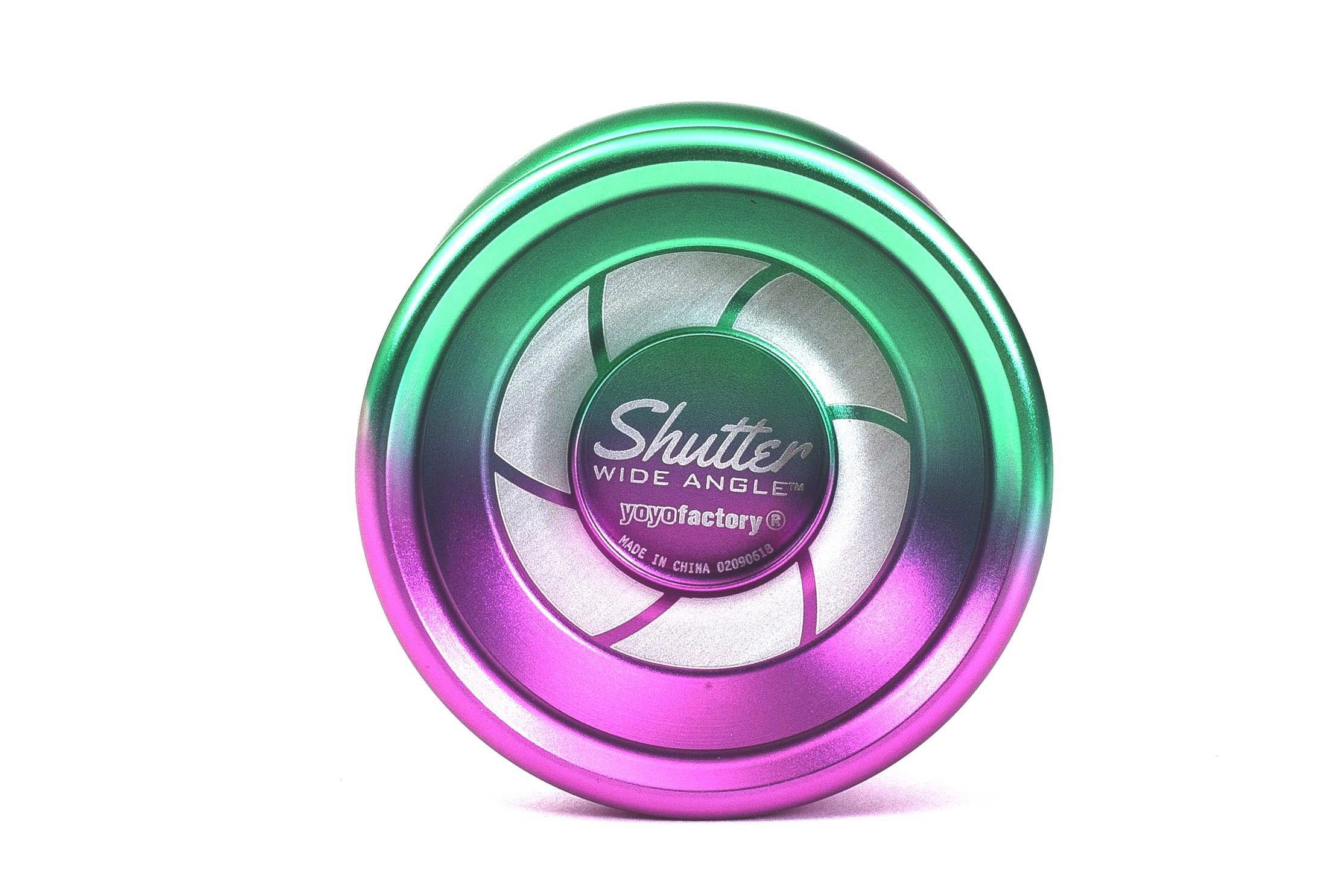 Shutter Wide Angle Yoyo by YoyoFactory Color Green Purple Fade from the Multicolor Collection