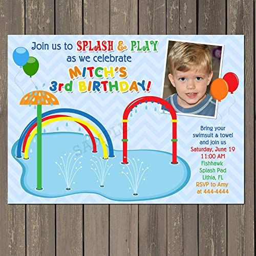 Amazon Splash Pad Spray Park Water Fun Birthday Invitation