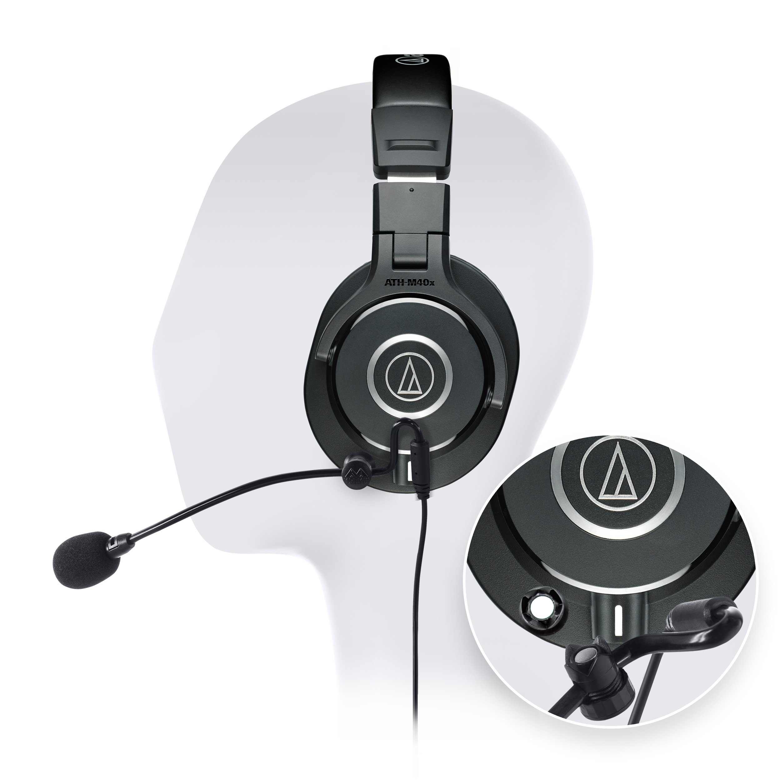 ​Audio-Technica ATH-M40x Professional Studio Headphone -INCLUDES- Antlion Audio ModMic Attachable Boom Microphone - Noise Cancelling w/ Mute Switch AND Blucoil Y Adapter - GAMING BUNDLE by blucoil