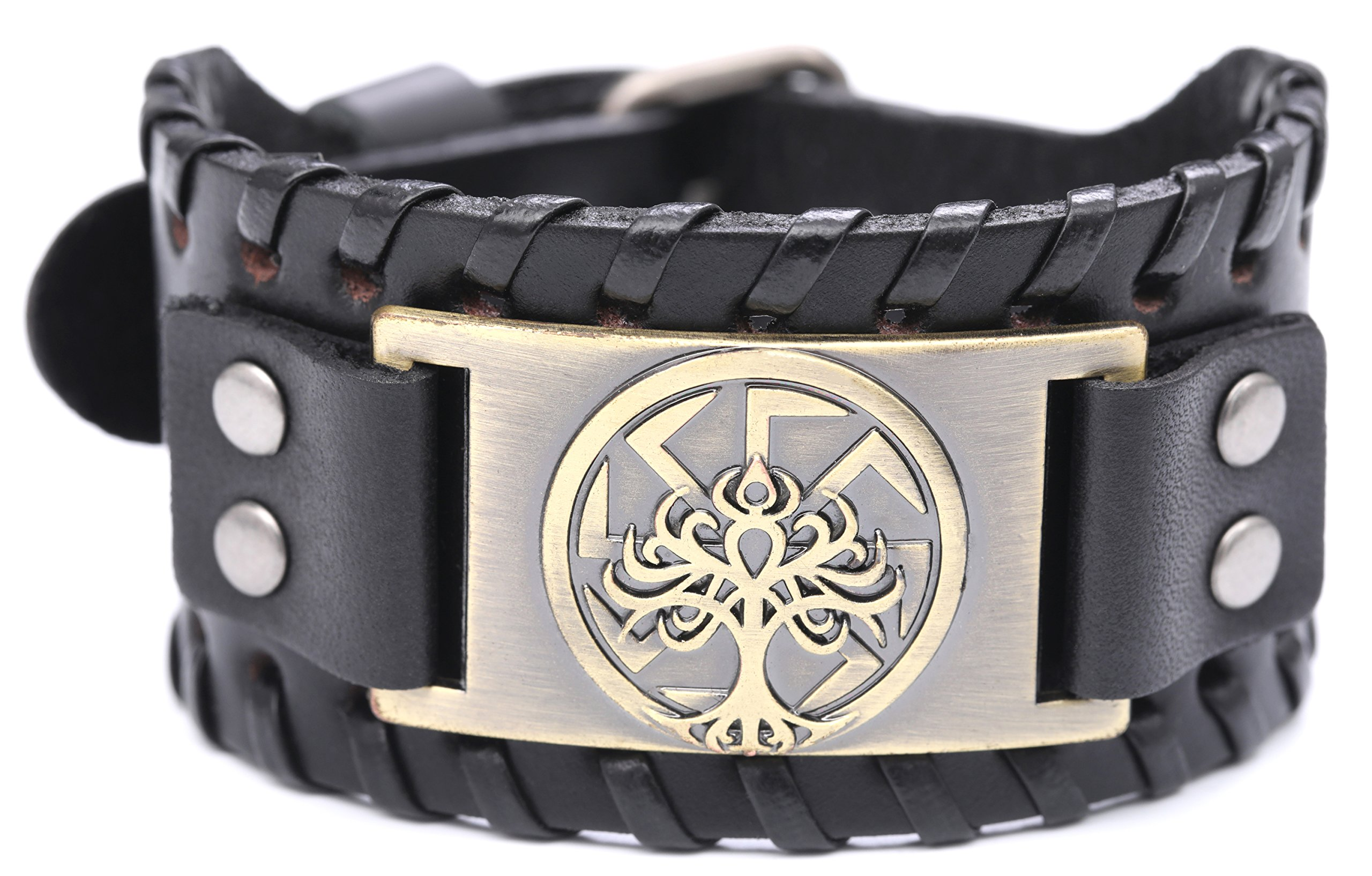VASSAGO Vintage Norse Myth Tree of Life Yggdrasil Slavic Kolovrat Symbol Sun Wheel Amulet Cuff New-style Leather Bracelet (Black Leather, Antique Bronze)