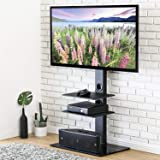 FITUEYES Universal TV Stand with Swivel Bracket Mount for 32 to 65 inch LCD LED Plasma TV, 3-Tier Audio Video Shelves TT307001MB