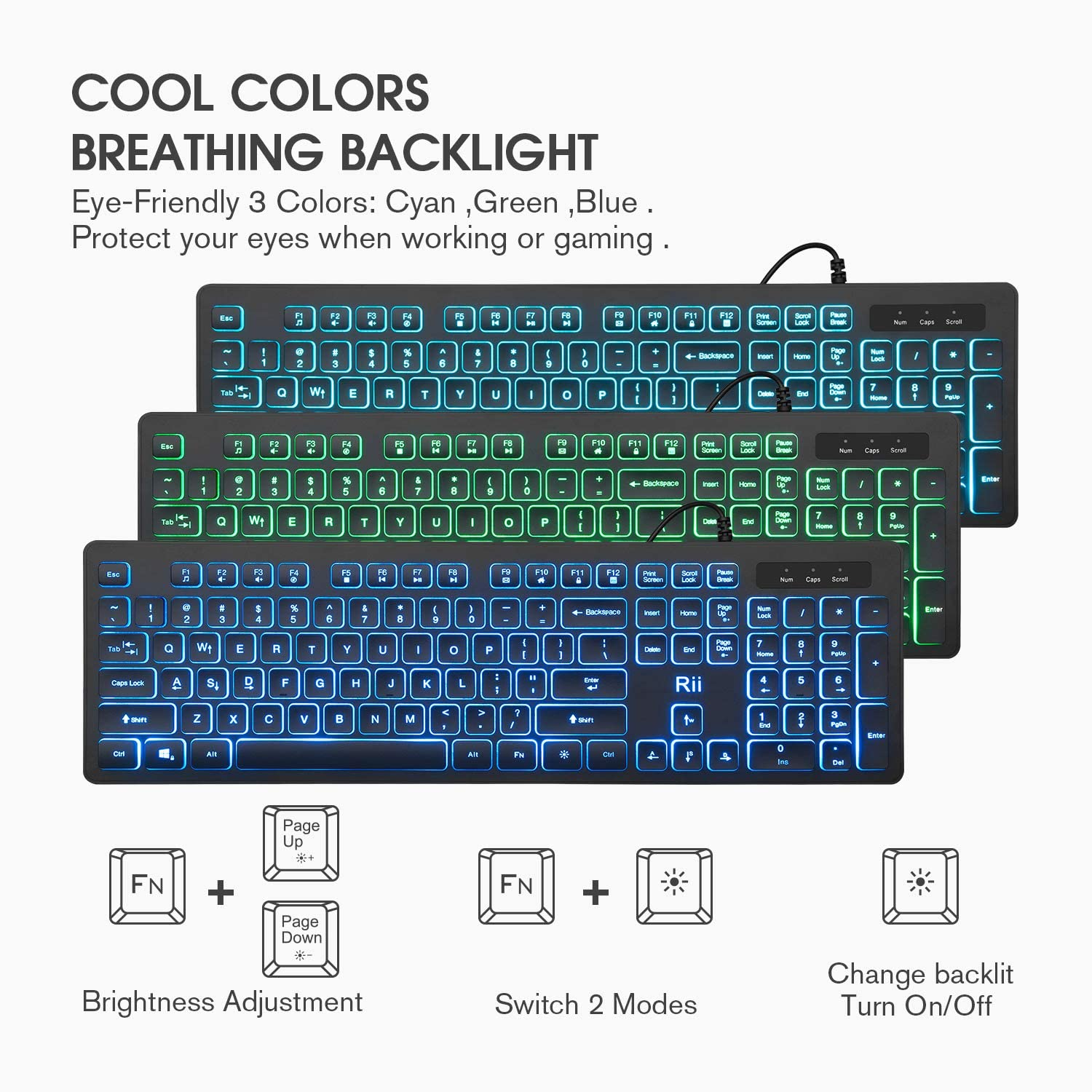Rii Three Colors Backlit Business Keyboard,Gaming Keyboard and Mouse Combo,USB Wired Keyboard,RGB Optical Mouse for Gaming,Business Office: Computers & Accessories