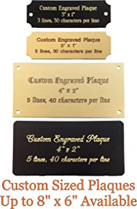 "Stanley London Personalized, Custom Engraved Brass Plaque, Name Plate, Art Tag, Picture Frame Label, Trophy Award - Fixed or Custom Sizes (Black Brass, Custom up to 4"" x 4"")"