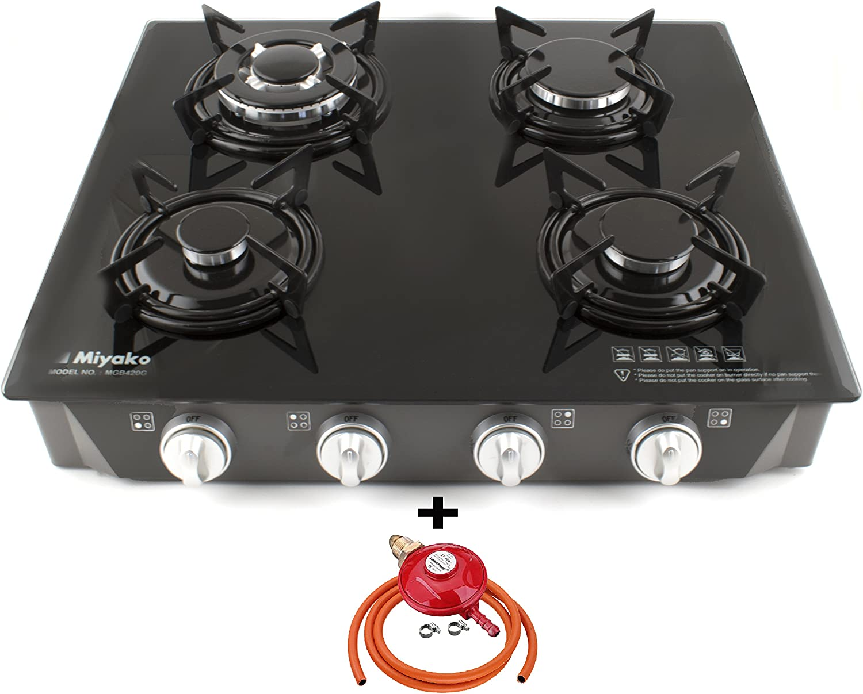 Miyako quemador de cocina de gas estufa 4 cristal negro Auto ...