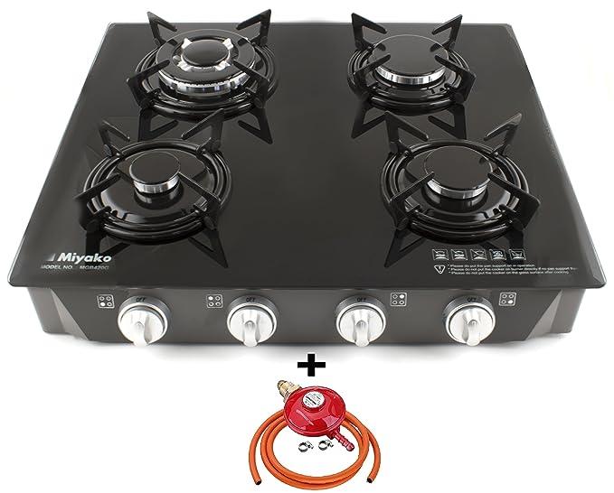 Miyako quemador de cocina de gas estufa 4 cristal negro Auto encendido GLP al aire libre
