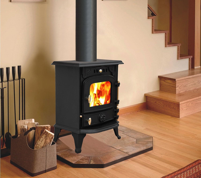 Nuevo hierro fundido log quemador estufa de leña Multifuel hoguera combustión limpia + Uno Libre 5