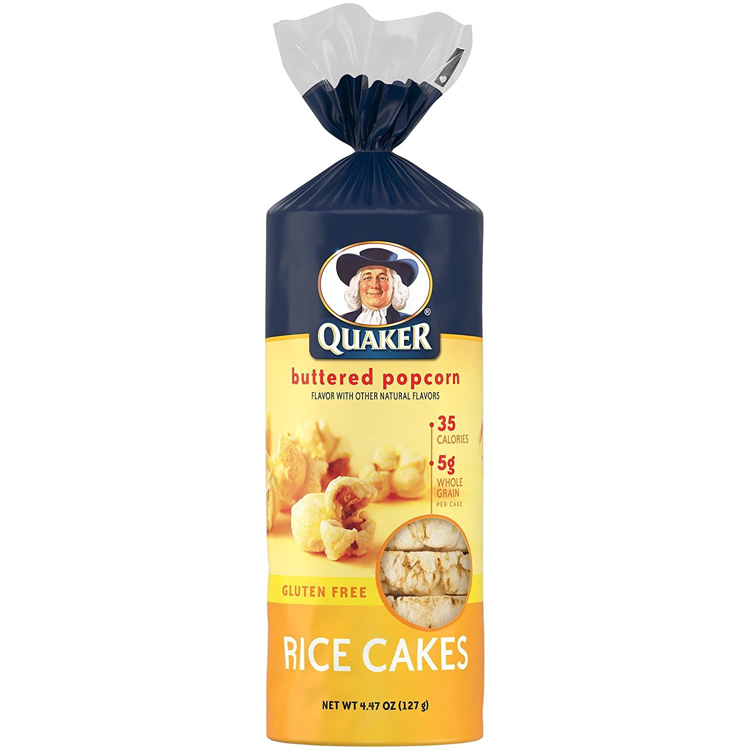 Quaker Buttered Popcorn Rice Cakes, 4.47 Oz, Pack of 4