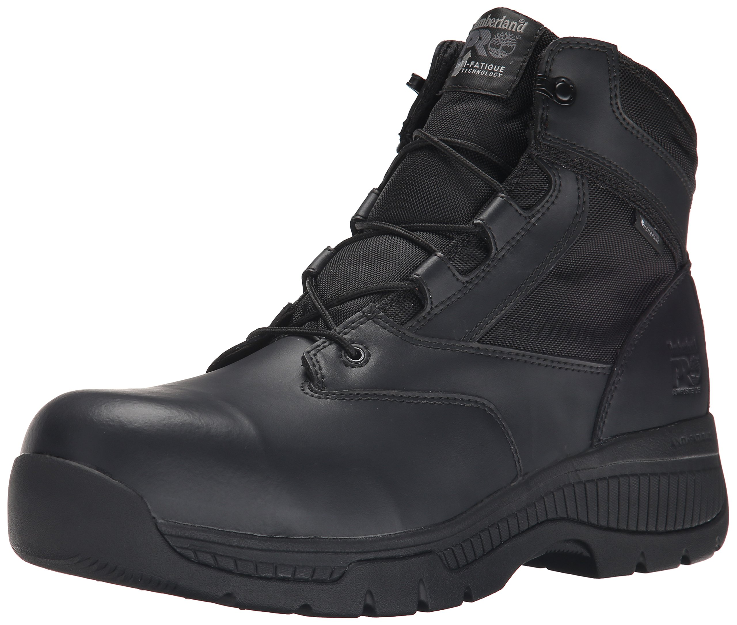 Timberland PRO Men's 6 inch Valor Comp Toe Waterproof Side Zip Work Boot, Black Smooth Leather Ballistic Nylon, 8 W US