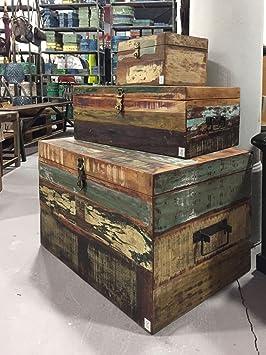STUFF Loft Vintage Caja Baúl para Guardar Reciclado de Madera Vieja Shabby Vintage Color Medium - Dimensiones: 50 x 32 x 23 cm (LxBxH): Amazon.es: Juguetes ...