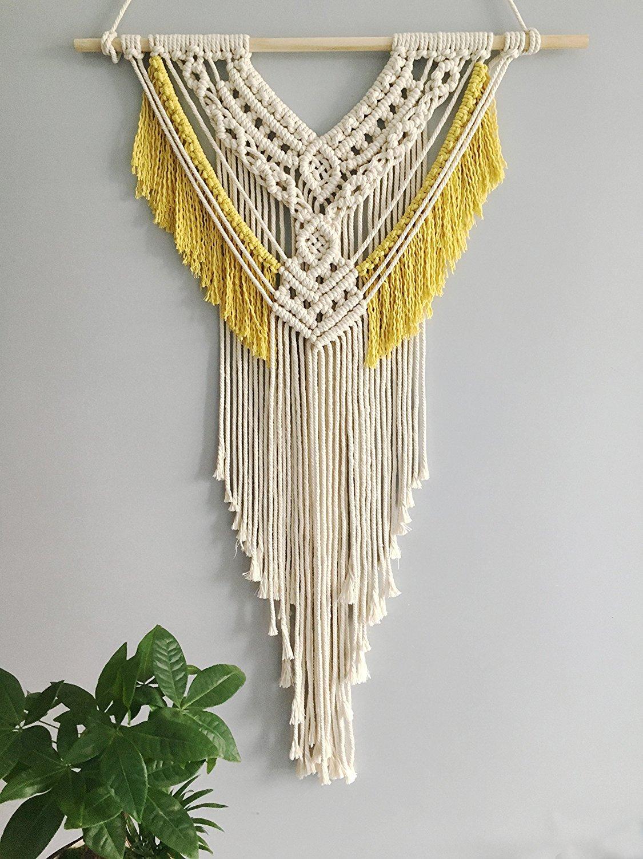 Youngeast 100% Handmade Boho Macrame Wall Hanging Home Décor, Beige&Yellow