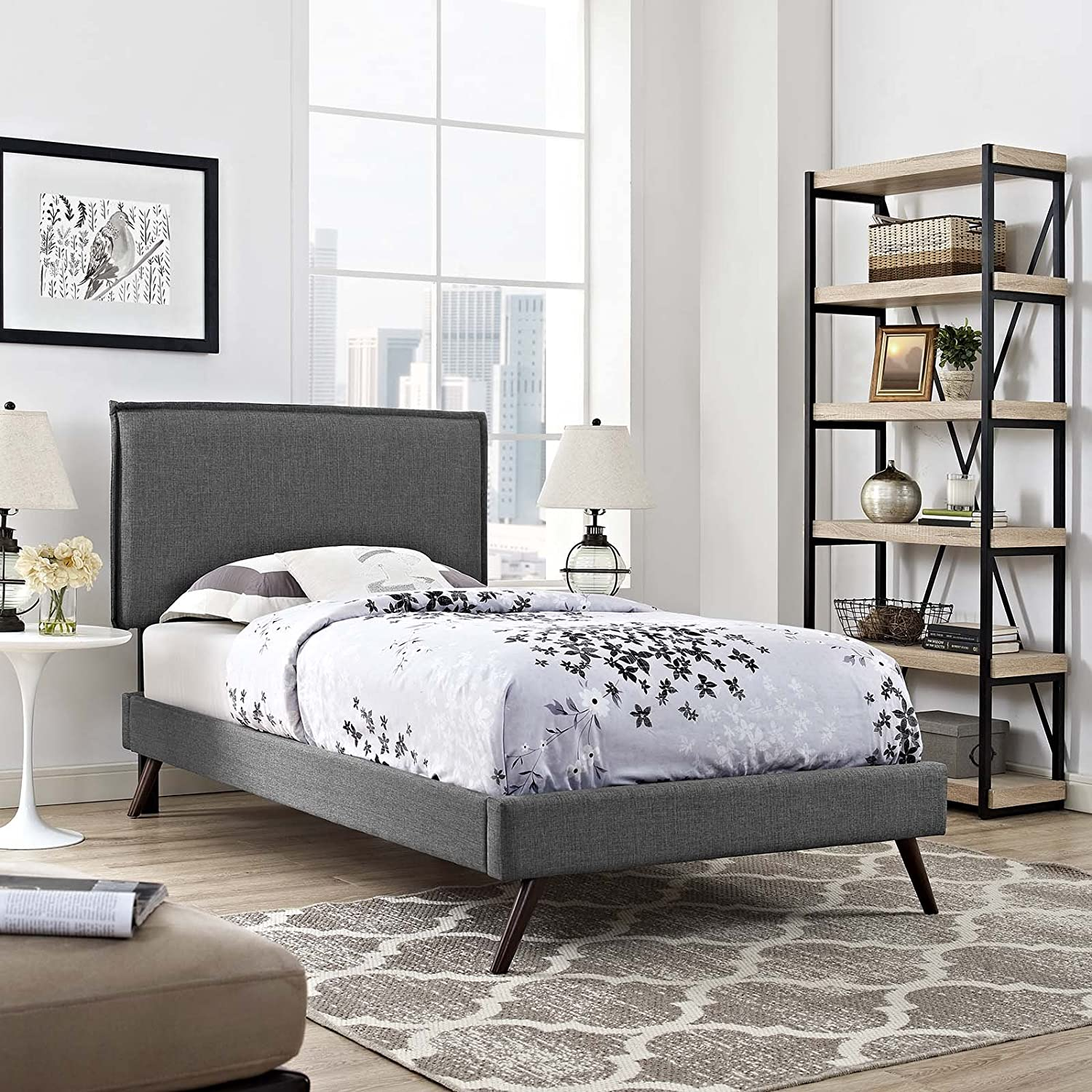 Modway Amaris Upholstered Twin Platform Bed Frame in Gray With Splayed Legs