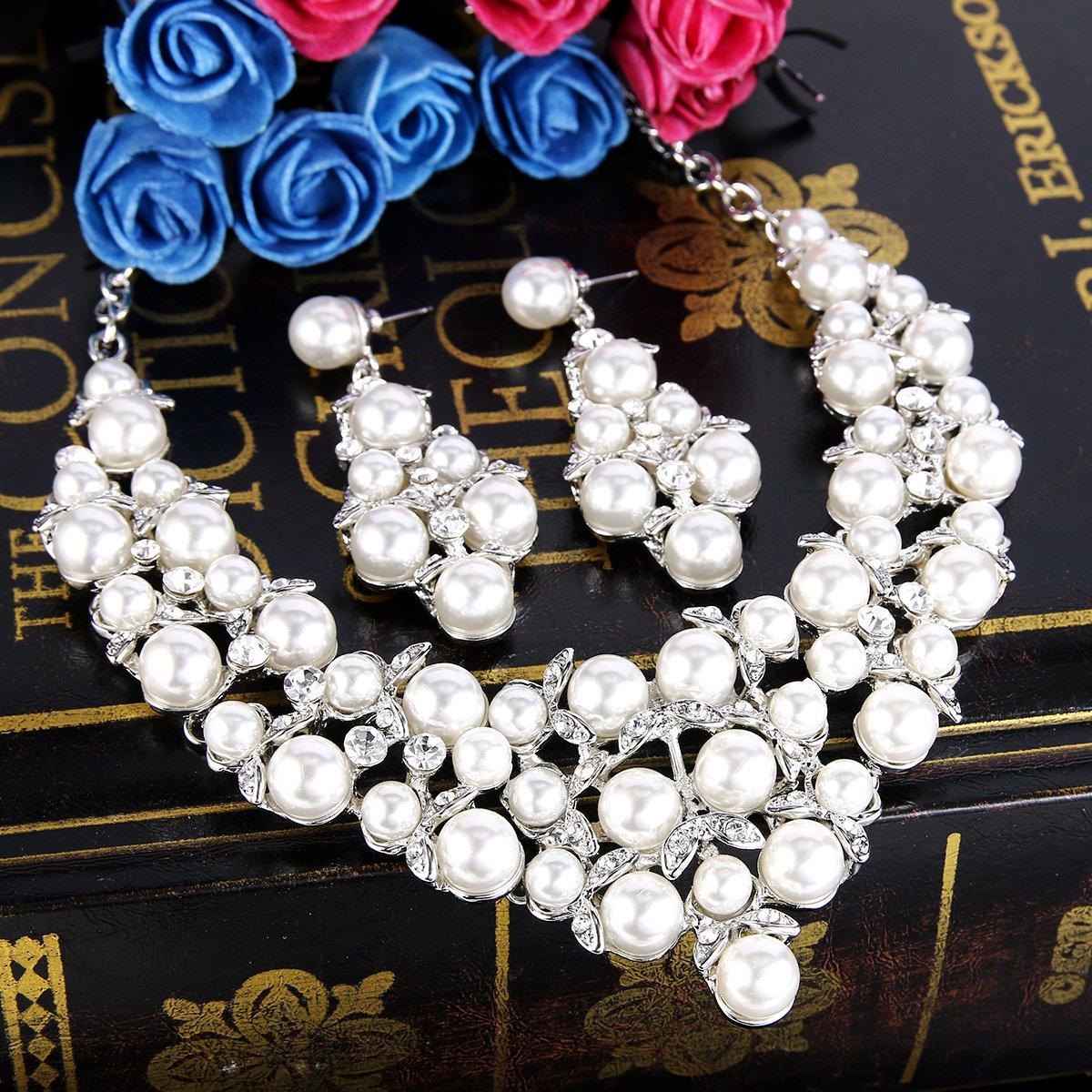Clearine Femme Cristal Vintage Style Perle Artificielle Collier Plastron Boucles doreilles Mariage Parures El/égant