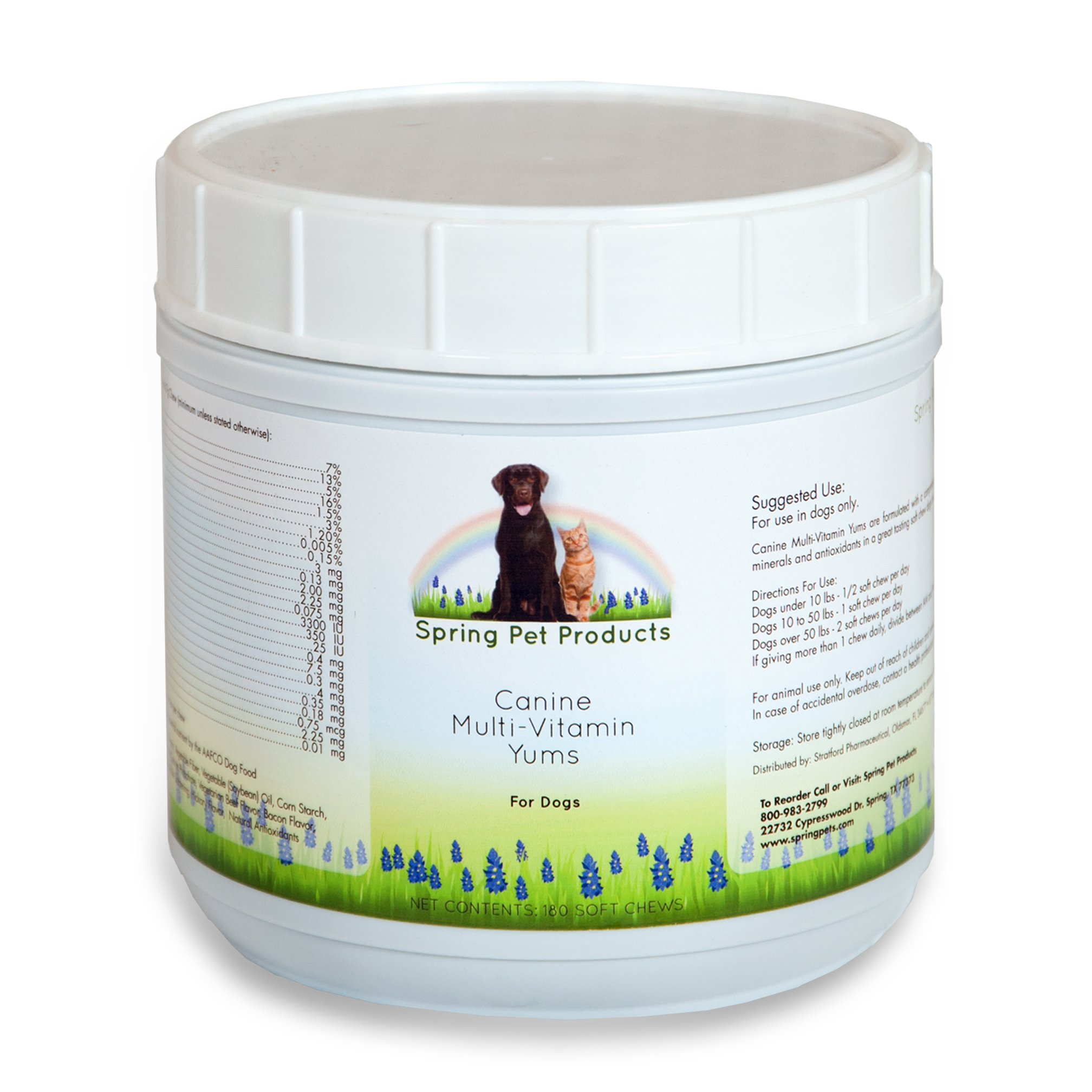 Spring Pet Dog Multi Vitamins & Supplements for Dogs 180 Count - Puppy, Senior, Agility, Working Canines Soft Chewable Tabs - Minerals Plus Vitamin E -Skin & Coat - Veterinarians Choice Made in USA by Spring Pet Products